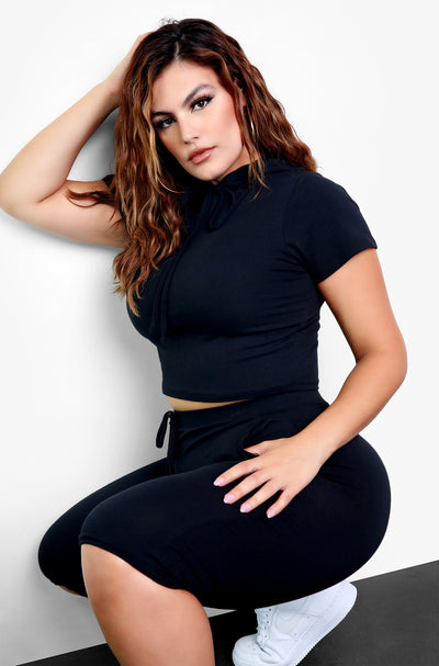 Black Hoodie Crop Top Plus Sizes