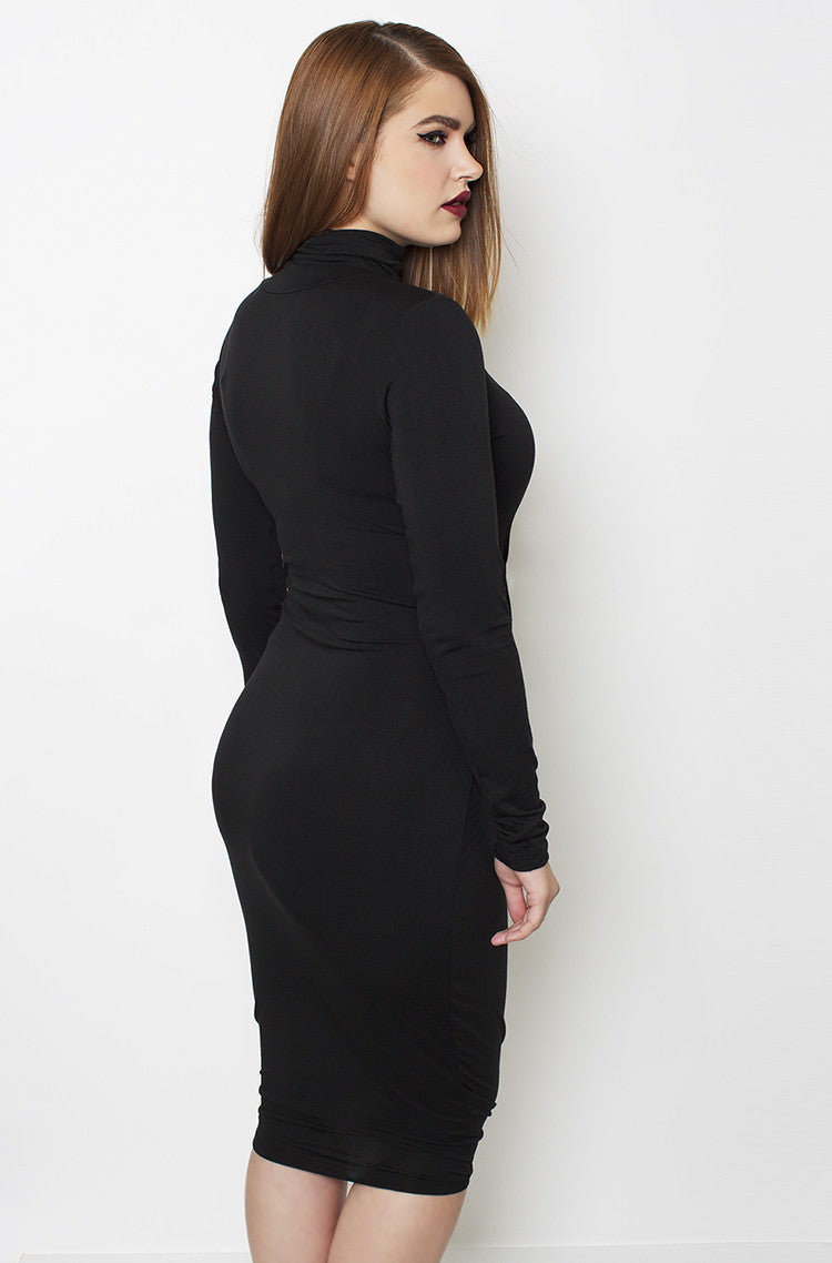 Black Ribbed Turtleneck Midi Dress plus sizes