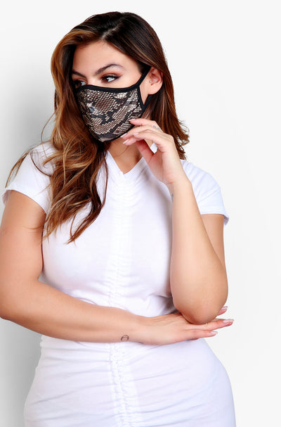 Brown Snake Print Fashion Face Mask