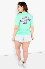 Mint Graphic Crew Neck T-Shirt Plus Size