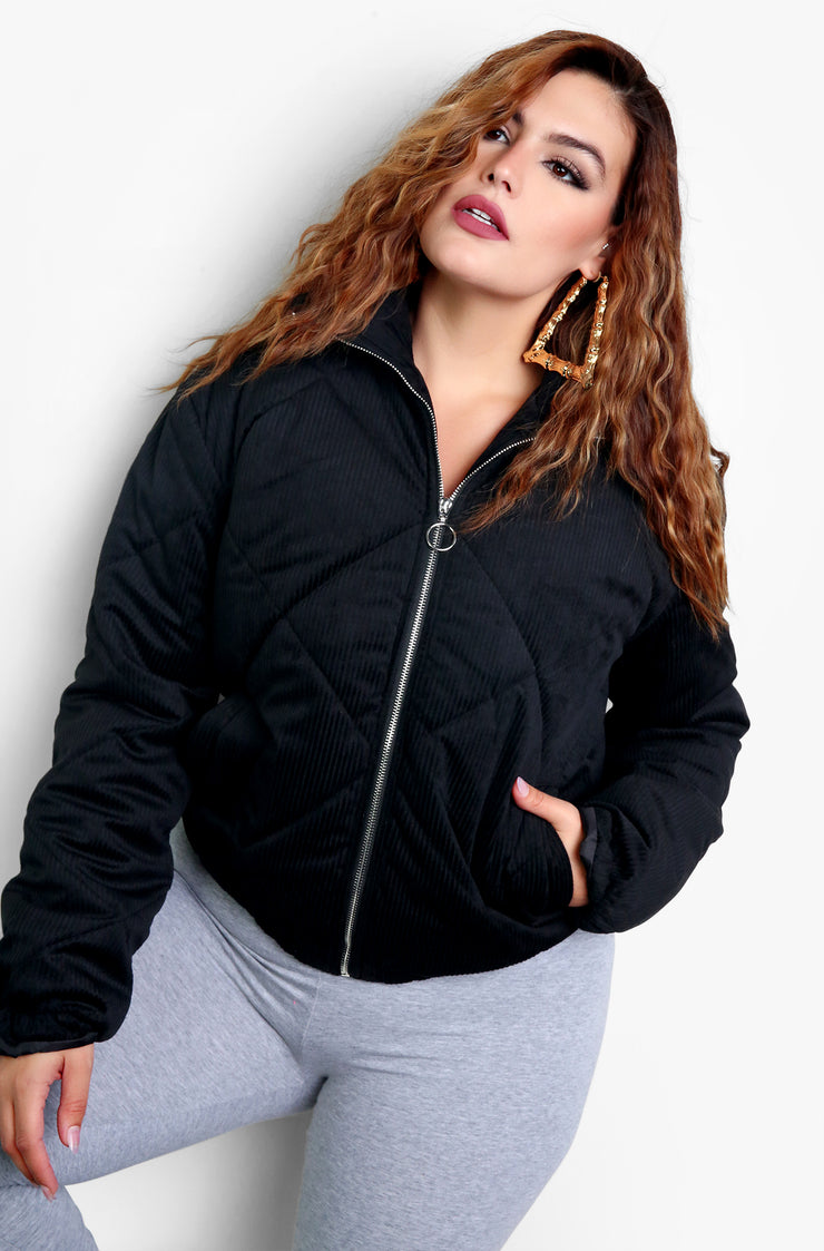 Black Puffer High Neck Zip Up Coat Plus Sizes