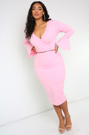 Pink Bell Sleeve Midi Dress