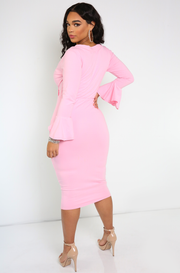 Pink Bell Sleeve Midi Dress Plus Sizes
