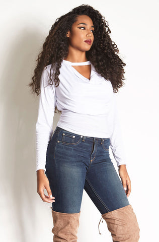 Rebdolls Essential Crew Neck Long Sleeve Crop Top - FINAL SALE