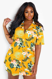 Mustard Button Down Slip Mini Dress Plus Sizes