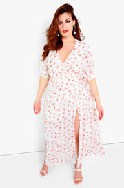 White Wrap Maxi Dress Plus Sizes