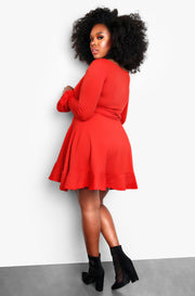 Bell Sleeve Ruffled Tie Front Plus Size Mini Dress