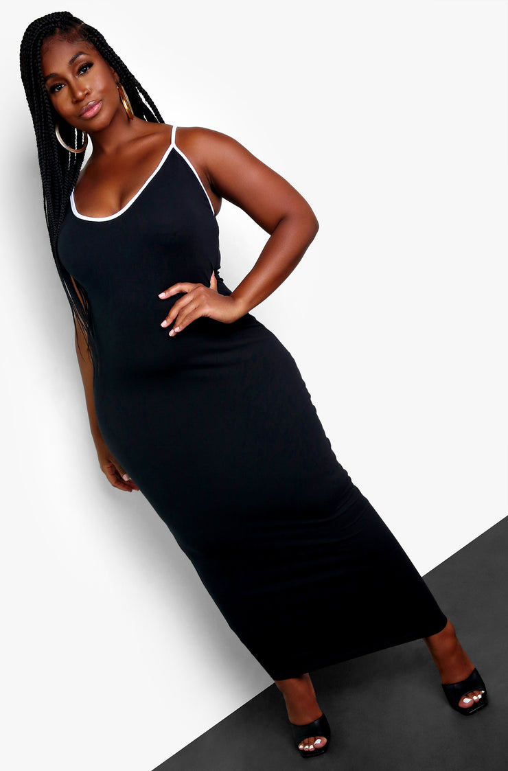 Black Color Blocked Bodycon Maxi Dress Plus Sizes