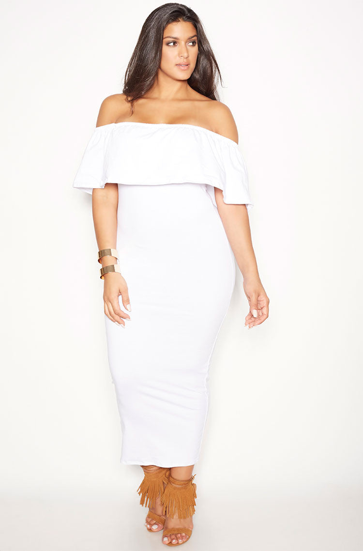 White Over The Shoulder Ruffled Maxi Dress plus sizes