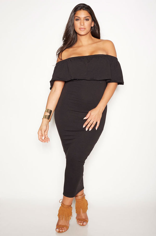 Black Over The Shoulder Ruffled Maxi Dress plus sizes