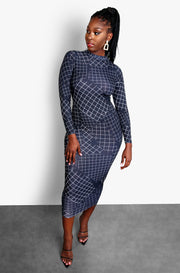 Black Long Sleeve Bodycon Plus Size Midi Dress