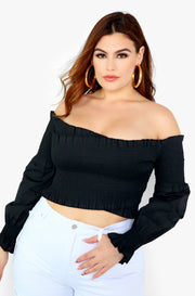 Black Smocked Long Sleeve Top Plus Size
