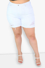 White Mid Rise Distressed Denim Shorts Plus Size