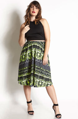 Green Skater Midi Skirt Plus Sizes