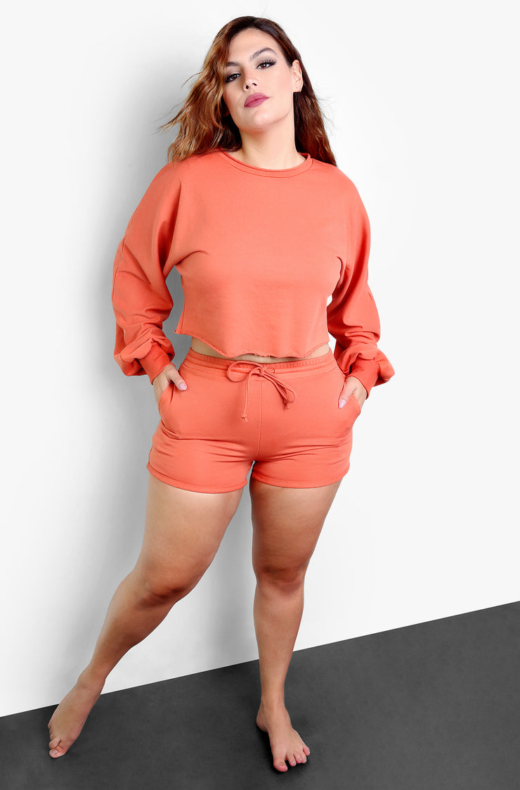 "Rebdolls ""Stay In With Me"" Cozy Oversized Long Sleeve Cropped Top - Dark Coral"