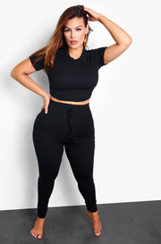 Black Ribbed Joggers Plus Sizes