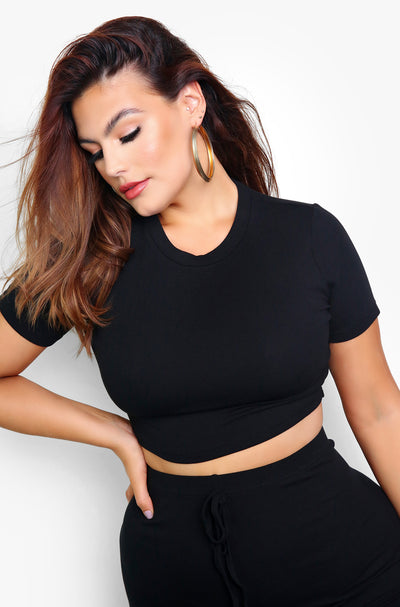 Black Ribbed Crewneck Crop Top Plus Sizes