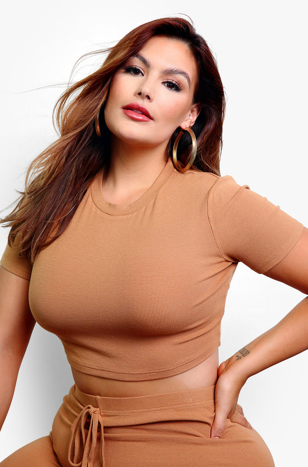 Mocha Ribbed Crewneck Crop Top Plus Sizes