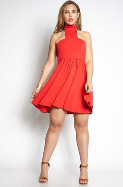 Red Skater Mini Dress With Choker plus sizes
