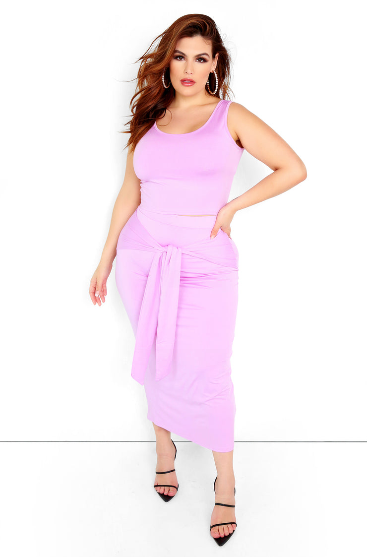 Lilac Front Tie Maxi Skirt Plus Size