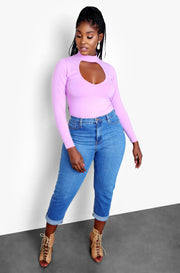 "Rebdolls ""Stitched Up"" Key Hole Cut Out Long Sleeve Sweater - Lilac"