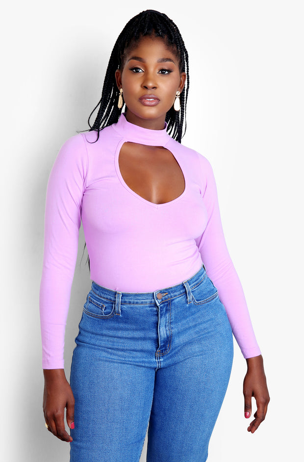 Lilac Key Hole Cut Out Long Sleeve Sweater Plus Sizes