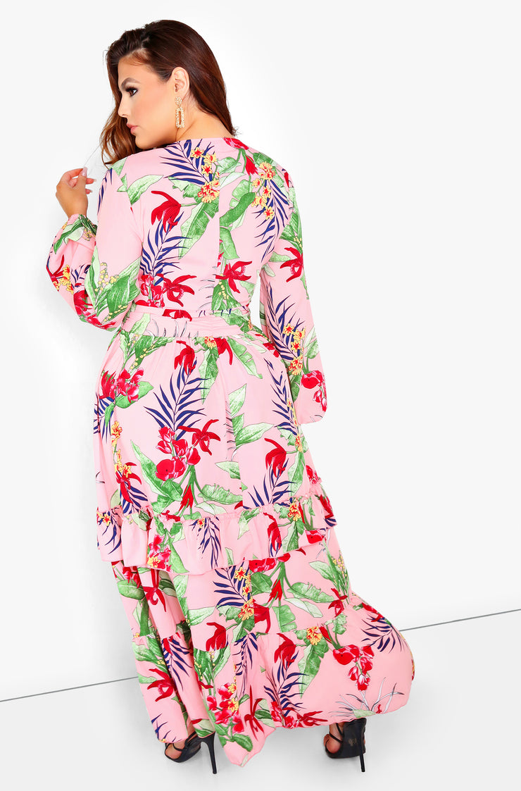 Pink Oversized Sleeve Plunge Maxi Dress Plus Size