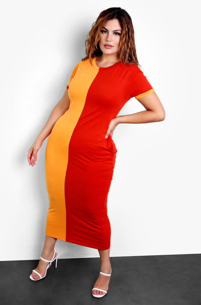 Brick Color Blocked Crewneck Bodycon Maxi Dress Plus Sizes