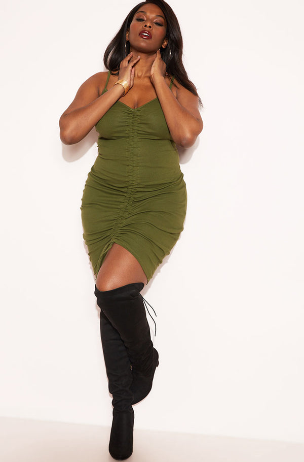 Olive Drawstring Strappy Mini Dress plus sizes