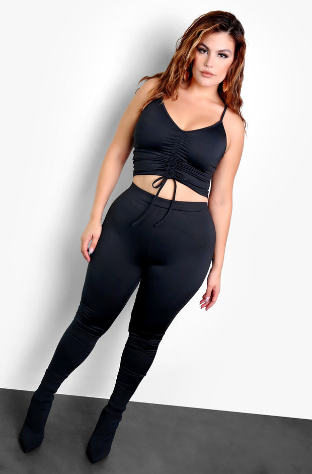 Black Ruched Tie Front Crop Top Plus Sizes