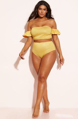"Rebdolls ""Jungle"" Ruffled Two Piece Swimsuit"
