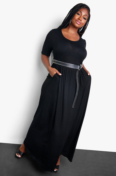 "Rebdolls ""Party Hostess"" Black Pleated Maxi Dress"
