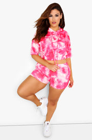 Pink Tie Dye Bike Shorts Plus Sizes