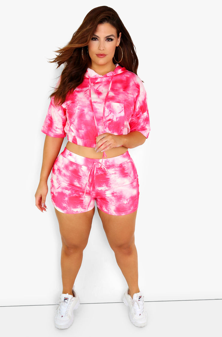Tie Dye Hooded Crop Top Plus Sizes