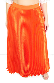 Orange Pleated Satin Maxi Skirt Plus Sizes