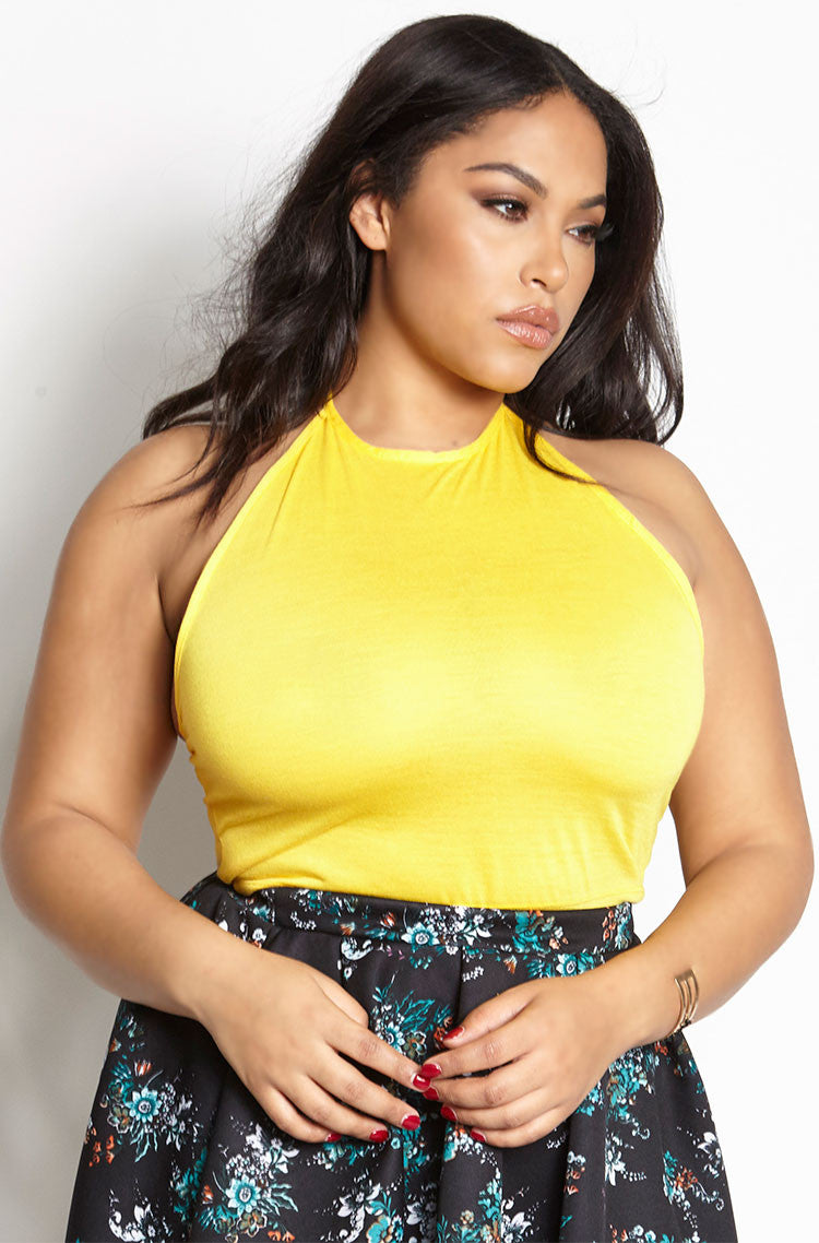 Yellow Halter Crop Top plus sizes