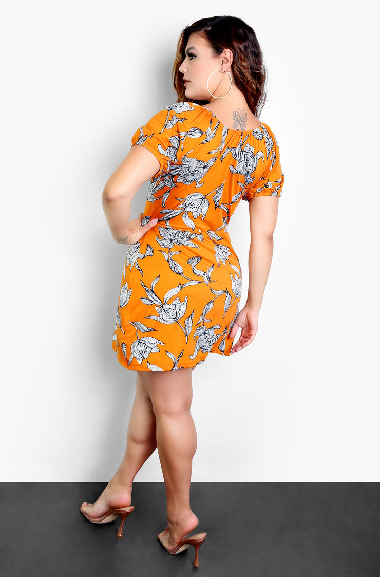 Mustard Plunge Mini Dress Plus Size