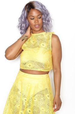 Yellow Open Back Crop Top plus sizes