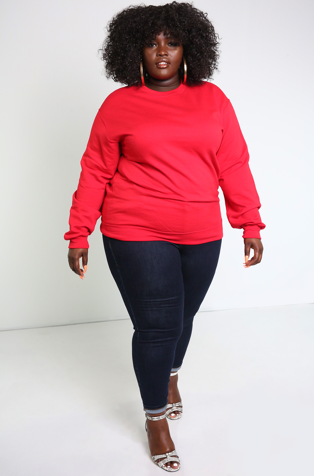 Red Essential Sweatshirt Plus Sizes