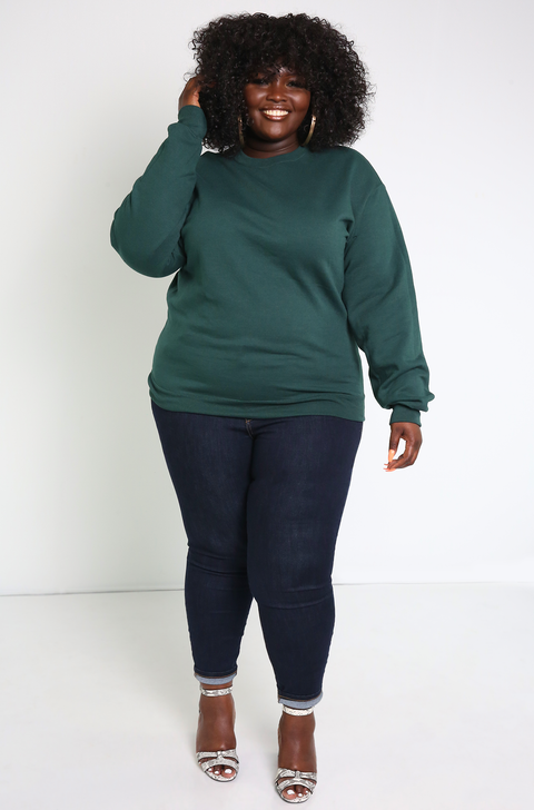 Forest Green Essential Sweatshirt Plus Sizes