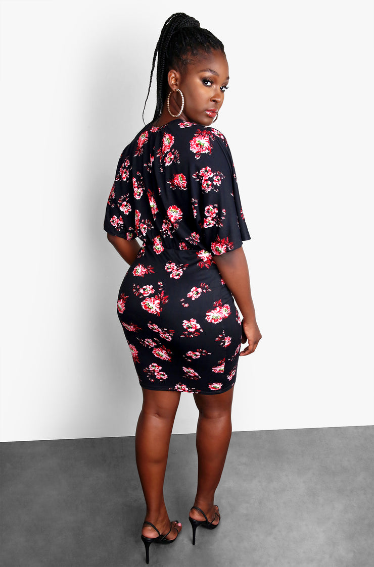 Black Floral Oversized Top Bodycon Plus Size Mini Dress