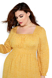 Yellow Smocked Waist Maxi Dress Plus Size