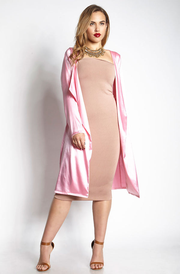 Pink Satin Duster plus sizes