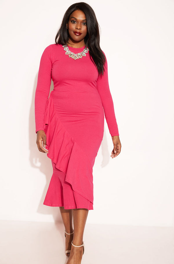 Fuchsia Ruffled Midi Dress plus sizes