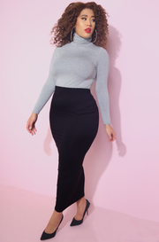 Gray Turtleneck Top Plus Sizes