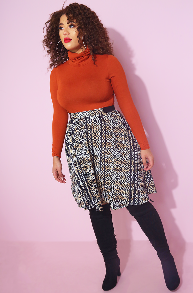 Rust Orange Turtleneck Top Plus Sizes