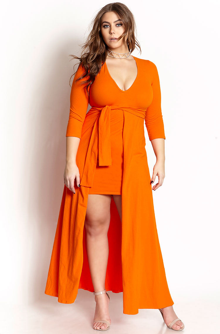 Orange Deep V Skater Mini Dress With Train plus sizes