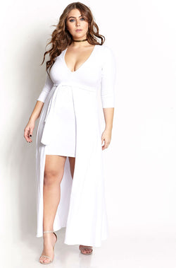 White Deep V Skater Mini Dress With Train plus sizes