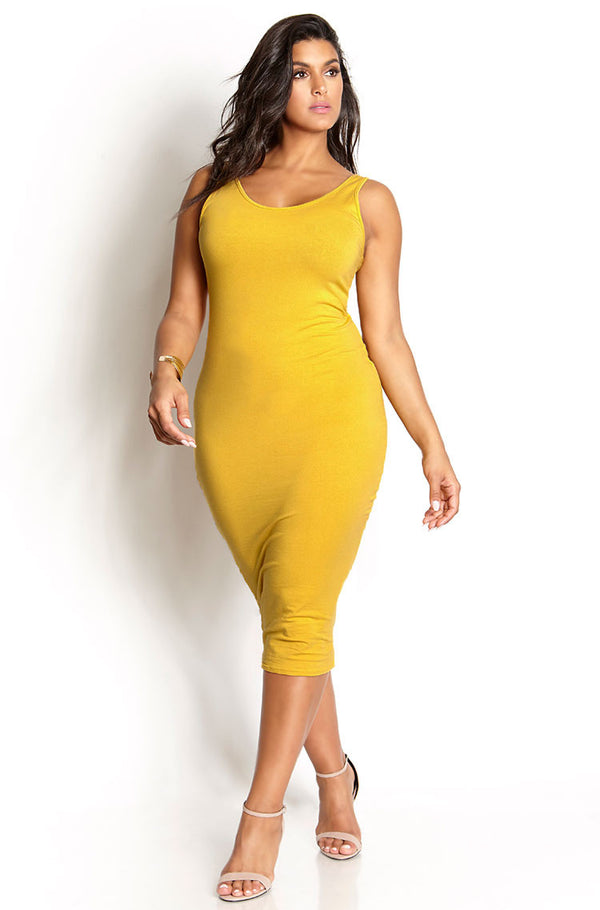Mustard Cardigan & Midi Dress Set plus sizes