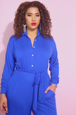 Royal Blue Button Down Wide Leg Jumpsuit Plus Sizes